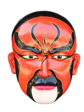 theatre symbol: Traditional chinese opera red mask isolated on white