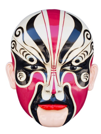 theatre symbol: Traditional chinese opera mask isolated on white Stock Photo