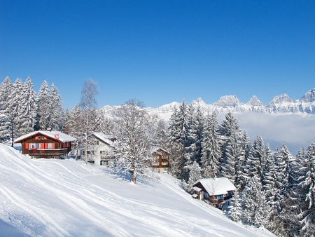alps: Winter holiday house in swiss alps