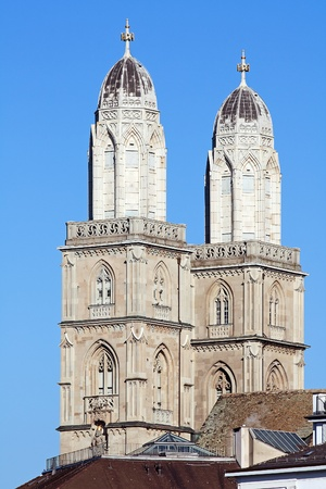 Famous double-headed Grossmunster cathedral in Zurich, Switzerland photo