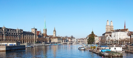 Limmat river and famous churches of Zurich, Switzerland photo
