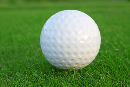 Ball on the green grass of the golf course photo