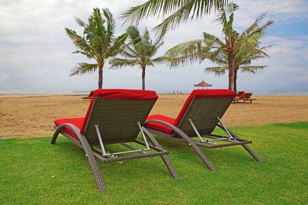 Balinese Nusa Dua beach empty before tropical storm photo