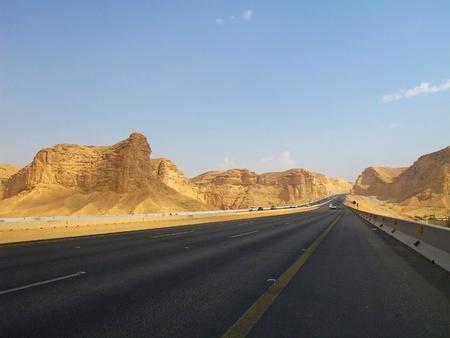 trough: Road trough the desert Riyadh-Makkah(Mecca) highway in Saudi Arabia                                Stock Photo
