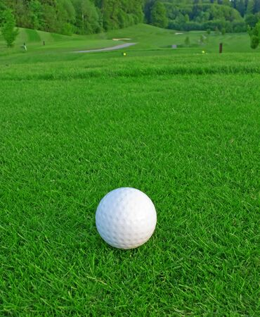 golfcourse: golf ball on the green grass of the golf course