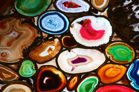 Slices of the colorful polished agate stones photo