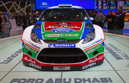 GENEVA - MARCH 8: The Ford Fiesta WRC, winner of the rally Sweden on display at the 81st International Motor Show Palexpo-Geneva on March 8; 2011  in Geneva, Switzerland. Stock Photo - 9115512