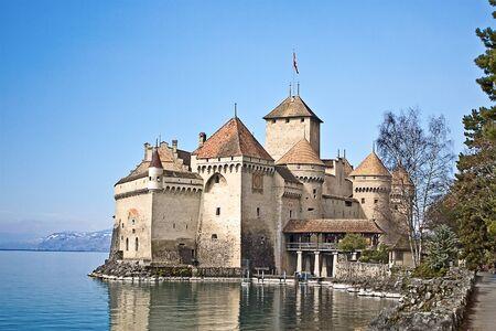 chillon: Chillon castle on the Geneva lake (Switzerland) Stock Photo