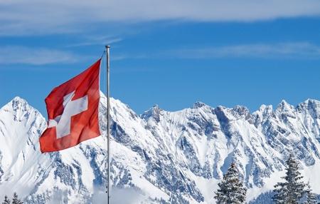 monta�as nevadas: Invierno en los Alpes suizos (Flumserberg, St.Gallen, Suiza)