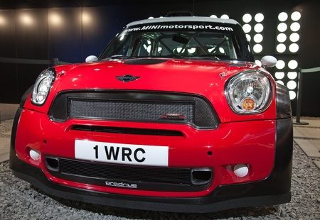 GENEVA - MARCH 8: The Mini Cooper Works Rally Car preview on the 81st International Motor Show Palexpo-Geneva on March 8; 2011  in Geneva, Switzerland.