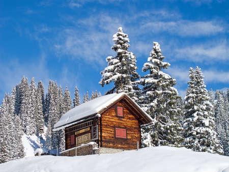 mountain hut: Winter in swiss alps (Braunwald, Glarus, Switzerland)