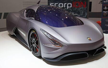 GENEVA - MARCH 8: The Abarth ScorpION concept car on the 81st International Motor Show Palexpo-Geneva on March 8; 2011  in Geneva, Switzerland.