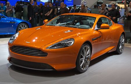 GENEVA - MARCH 8: The Aston Martin Virage preview on the 81st International Motor Show Palexpo-Geneva on March 8; 2011  in Geneva, Switzerland.