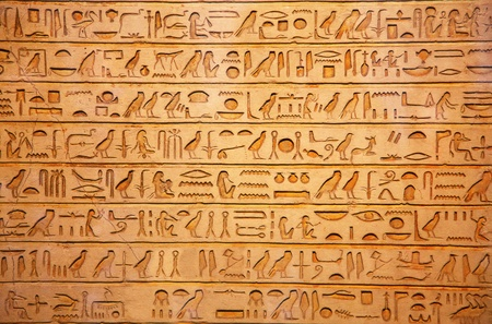 ancient egyptian culture: Egyptian hieroglyphs on the wall
