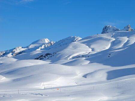 Typical swiss winter season landscape. Melchsee-Frutt, Switzerland. photo