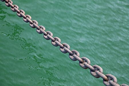 Huge old rusty anchor chain of the battleship photo