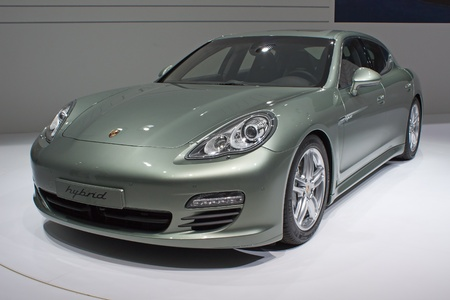GENEVA - MARCH 8: The Porsche Panamera (Type number 970) with hybrid engine on display at the 81st International Motor Show Palexpo-Geneva on March 8; 2011  in Geneva, Switzerland.