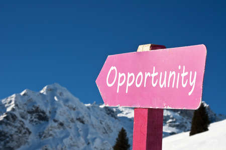 Opportunity sign in the snowy montain photo