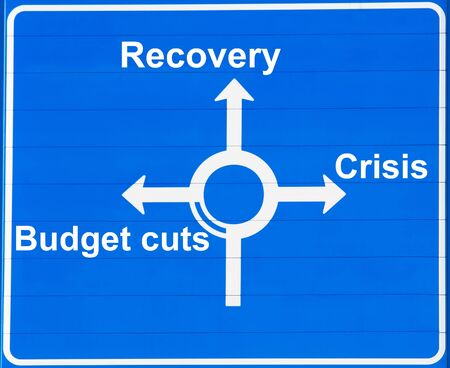 Crisis or recovery road sign photo