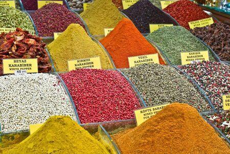 middle eastern food: Turkey, Istanbul, Spice Bazaar, turkish spices for sale