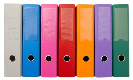Colorful office folders isolated on white Stock Photo - 9897565