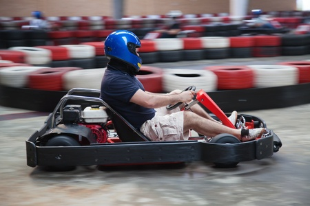 carting: Indoor carting race (cart and safety barriers) Stock Photo