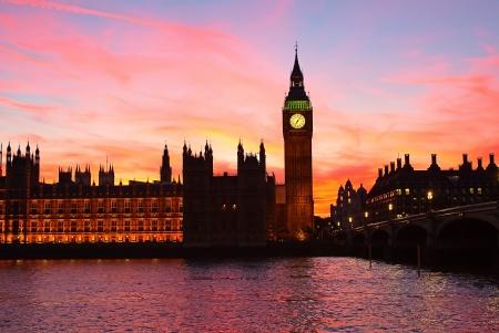 Dramatic sunset over Big Ben clock tower in London, UK. photo
