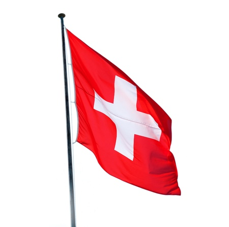 helvetica: Swiss flag isolated on the white background