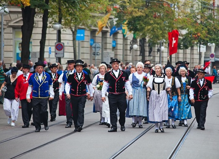 ZURICH - AUGUST 1: Swiss National Day parade on August 1, 2009 in Zurich, Switzerland. Representative of canton Appenzeller marching in traditional costumes. Stock Photo - 10249689
