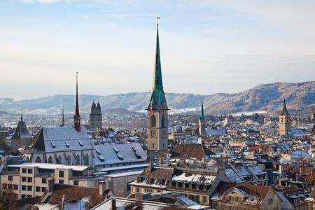 View of the Zurich donwtown (Switzerland, Winter 2011) photo