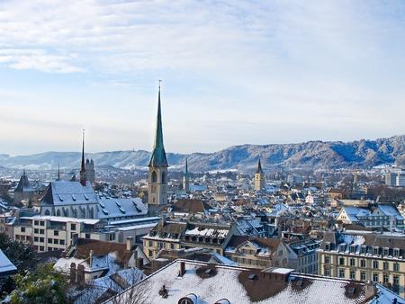 gabled: View of the Zurich donwtown (Switzerland, Winter 2011) Stock Photo