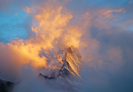 Dramatic sunset over famous Matterhorn (peak Cervino)