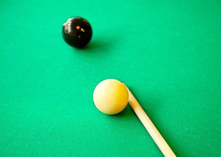 Set of pool balls ready to finish the game photo