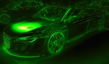 supercar: Neon light drawing of the sport car
