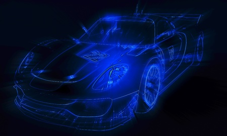 new motor vehicles: Neon blue sport car silhouette Stock Photo