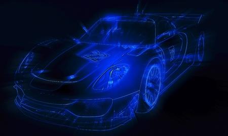 Neon blue sport car silhouette Stock Photo