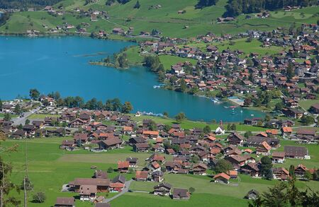 Aerial view of lake Lungernsee in central Switzerland photo
