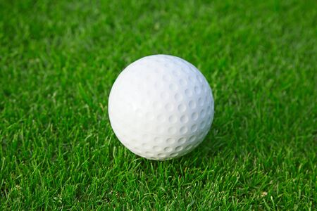 golf ball on the green grass of the golf course photo
