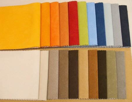 Colorful upholstery samples in the shop photo