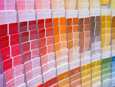 Colorful paint samples in the shop Stock Photo