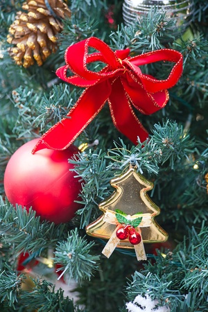 Fragment of the Christmas tree decoration Stock Photo