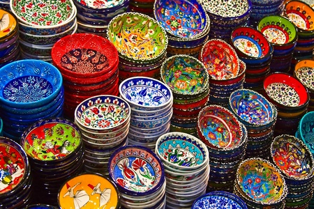 Classical Turkish ceramics on the market photo
