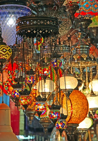 Traditional turkish lamps on the market photo