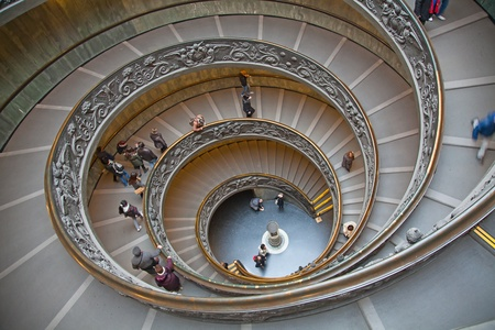 old spiral stairs in the Vatican Museums (Musei Vaticani)