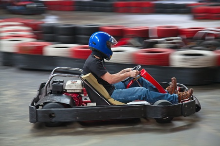 carting: Indoor karting race (kart and safety barriers)