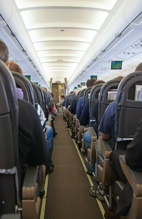 Aircraft cabin after take off Stock Photo - 11229845