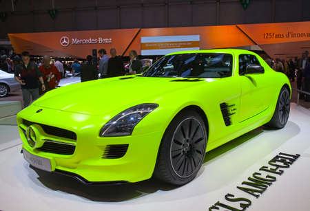 GENEVA - MARCH 8: The Mercedes-Benz SLS on display at the 81st International Motor Show Palexpo-Geneva on March 8; 2011  in Geneva, Switzerland.