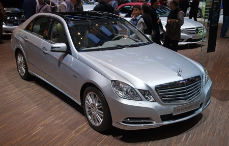 GENEVA - MARCH 8: The Mercedes-Benz E350 on display at the 81st International Motor Show Palexpo-Geneva on March 8; 2011  in Geneva, Switzerland.