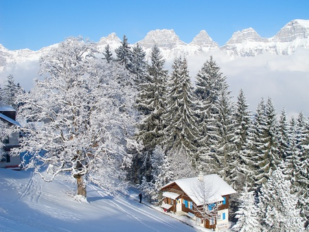 Winter in the swiss alps, Switzerland Stock Photo - 11393602
