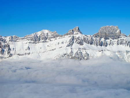 Typical swiss winter season landscape. December 2010, Switzerland. photo